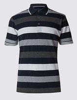 Pure Cotton Block Striped Polo Shirt