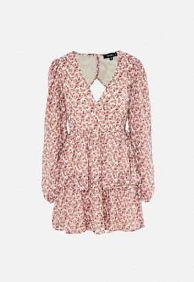 Missguided Pink Floral Print Open Back Wrap Skater Dress