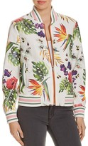Bagatelle Perforated Faux Leather Floral Print Bomber Jacket