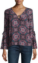 Ella Moss Cara Printed Bell-Sleeve Top, Dusty Rose