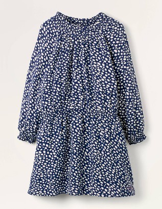 Smocked Spot Woven Dress