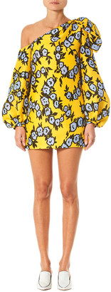 Carolina Herrera Open Shoulder Silk Mini Dress