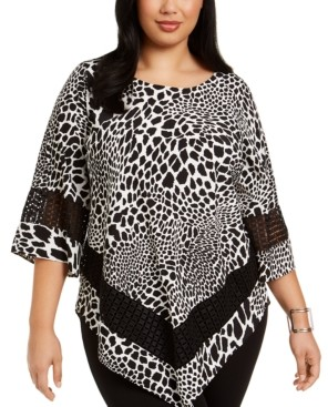 Alfani Plus Size Printed Crochet-Trim Top, Created for Macy's