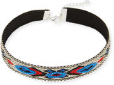 Panacea Embroidered Choker Necklace, Blue/Red/Multi