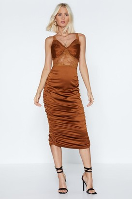 Nasty Gal Womens Lace To The Finish Satin Dress - Brown - 6, Brown