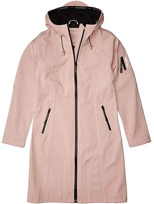 Ilse Jacobsen Soft Shell 3/4 Long Functional Rain Coat (Adobe Rose) Women's Coat