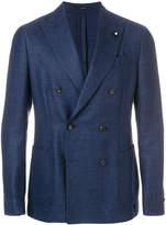 Lardini check double breasted jacket