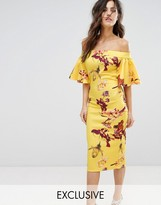 True Violet Off Shoulder Print Pencil Dress With Frill Sleeve