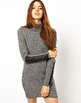 Asos Jumper Dress With Funnel Neck & Leather Look Sleeves