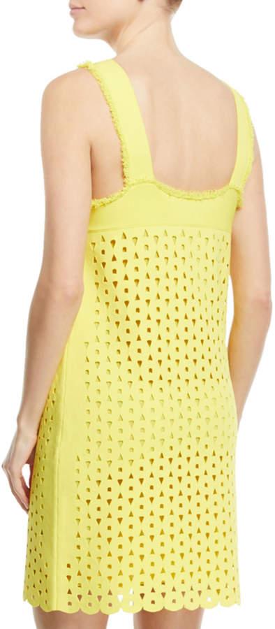 Derek Lam Square-Neck Straight Cutout-Eyelets Mini Dress