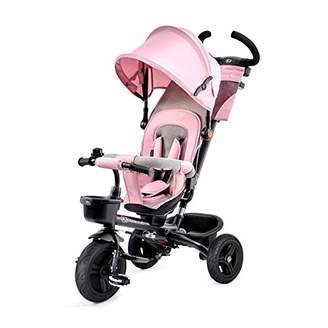 Kinderkraft Tricycle Aveo, Baby Push Trike, Kids First Bike, Pushchair, Free Wheel Functions, with Sun Canopy, Parent Handle, Footrest, Accessories, Bag, Cup Holder, from 9 Months to 5 Years, Pink