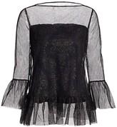 Chiara Boni Deidre Illusion Print Bell-Sleeve Top