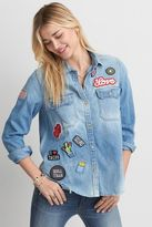 American Eagle Outfitters AE Oversized Patched Denim Shirt