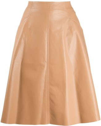 Drome leather A-line skirt