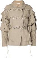 J.W.Anderson slash sleeve jacket - women - Linen/Flax - 6