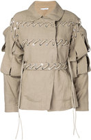 J.W.Anderson slash sleeve jacket - women - Linen/Flax - 8