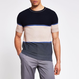 River Island Mens Navy colour blocked slim fit knitted T-shirt