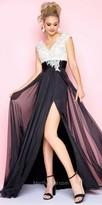 Mac Duggal Rhinestone Embellished Chiffon A-line Prom Dress