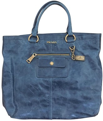 Prada Navy Leather Handbags