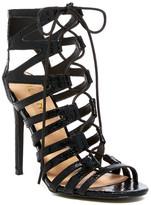 Liliana Tisha Lace Snake-Embossed Sandal