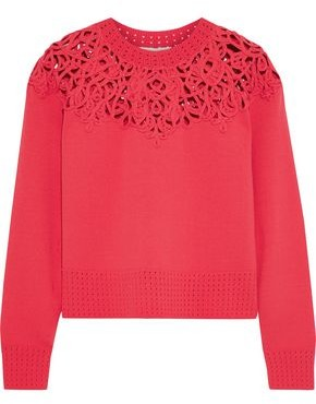 Jonathan Simkhai Cropped Macrame-paneled Knitted Sweater