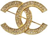 Chanel 18K Gold Plated Metal & Rhinestone CC Brooch