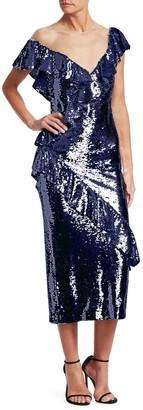 Monique Lhuillier Asymmetrical Sequin Dress