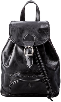 Maxwell Scott Bags Womens Premium Black Italian Leather Backpack