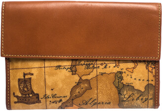 Alviero Martini Tan Geo Map Coated Canvas and Leather Multiple Pocket Flap Wallet