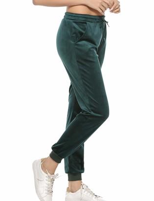 Aibrou Women Velvet Trouser Jogger Sweatpants Ladies Cosy Jogging Gym Sports Pant Green
