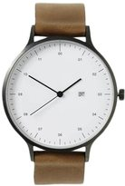 Frank + Oak INSTRMNT Silver & Tan Leather Strap Watch
