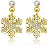 Howsly Women Crystal Snowflake Drop Dangle Earrings Gold Plated Jewelry Body Chain
