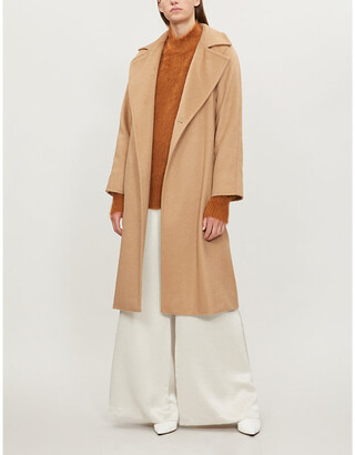 Max Mara Womens Brown Manuela Camel Hair Wrap Coat