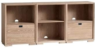 Pottery Barn Teen Callum Triple Wide Set, 2 One-Drawer + 1 Cubby + Feet, Smoked Gray, UPS