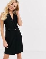 Lipsy tux button front midi dress in black