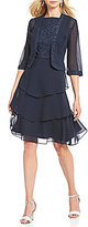 Le Bos Embroidered Glitter Tiered 2-Piece Jacket Dress