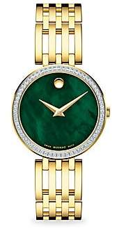 Movado Women's Goldplated, Diamond & Mother-Of-Pearl Bracelet Watch