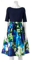Jessica Howard Women's Floral Taffeta Fit & Flare Dress
