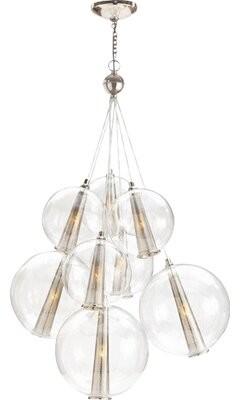 "Arteriors Laura Kirar 8 - Light Cluster Globe Pendant Size: 51"" H x 28"" W x 28"" D, Finish: Polished Nickel/Clear"