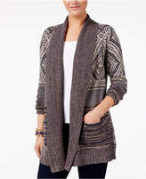 Style&Co. Style & Co Petite Mixed-Print Open-Front Cardigan, Created for Macy's