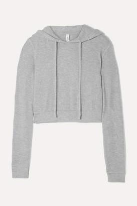 Alo Yoga Getaway Cropped Melange Brushed-jersey Hoodie