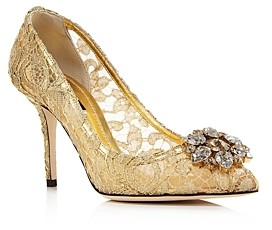 Dolce & Gabbana Women's Lace Embroidered Pumps