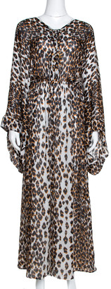 Roberto Cavalli Brown & White Animal Print Silk Maxi Dress M