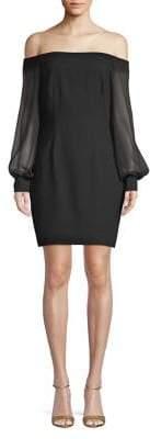Aidan Mattox Off-the-Shoulder Crepe Dress