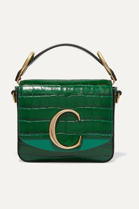 Chloé C Mini Suede-trimmed Croc-effect Leather Shoulder Bag - Green