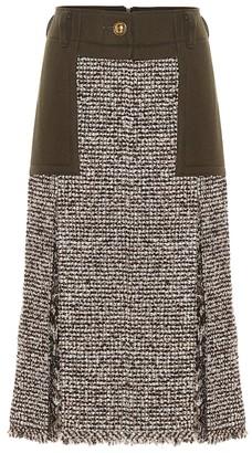 Sacai High-rise wool-blend tweed skirt