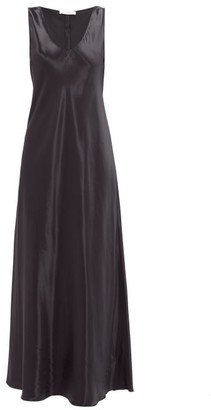 The Row Natasha Flared Crepe-back Satin Maxi Dress - Navy