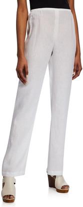 Caroline Rose Tissue Linen Straight-Leg Pants
