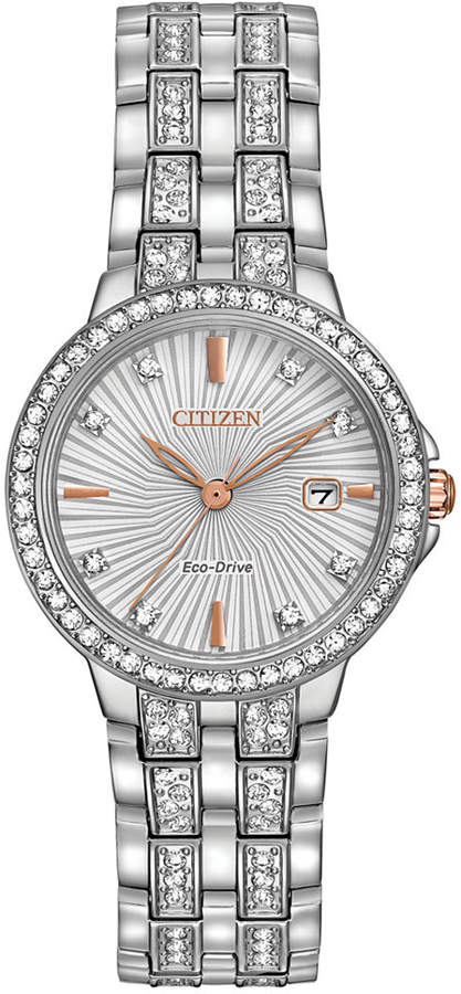 Citizen Women's Eco-Drive Crystal Accent Stainless Steel Bracelet Watch 28mm EW2340-58A