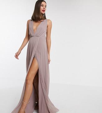 Asos Tall ASOS DESIGN Tall pleated knot back maxi dress